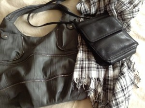 Two of my favorite handbags and a scarf - all consignment store finds