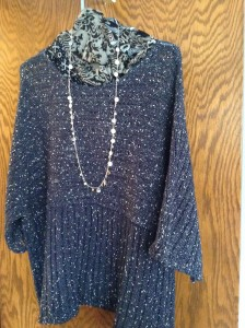Sweater and necklace I wear over and over - consignment store finds
